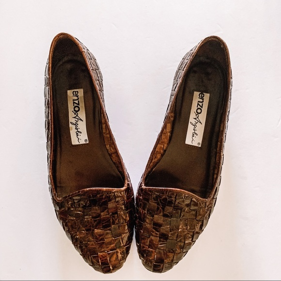 Enzo Angiolini Shoes - Enzo Vintage Brown Woven Loafers